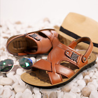 New Men's Genuine Leather Fisherman Beach Sports Sandals Waterproof Shoes