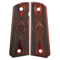 1911 Officers Grim Reaper Checkered Rosewood Laminate New Grips