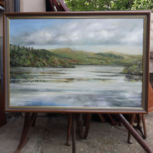 Signed Framed Oil On Canvas of a Lake-Side Scene Possibly The Lake District