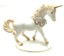 Rare Franklin Mint Collection White with Flowers Porcelain Unicorn Figurine