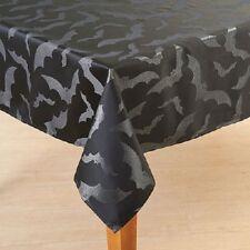 Halloween Shiny Metallic Bat Damask Fabric Tablecloth 60 in x 84 in