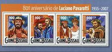More details for guinea-bissau music stamps 2015 mnh luciano pavarotti princess diana 4v m/s