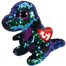 """Ty Flippables 11"""" Crunch the Green & Purple Dinosaur Color Changing Sequin Plush"""