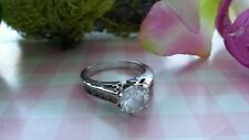 Beautiful Sparkling White CZs Solid Ring Real Sterling Silver *Size 7 1/4 *D073