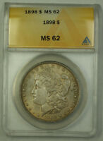1898 Morgan Silver Dollar $1 ANACS MS-62 Better Coin Toned JMX