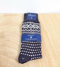 Corgi Fair Isle Style Grey 100 Percent Cotton Socks Large   NWT
