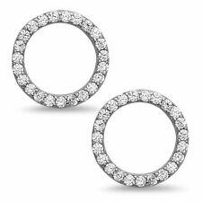 Sterling Silver Open Circle Stud Earrings – Minimalist CZ Jewelry in Black,...