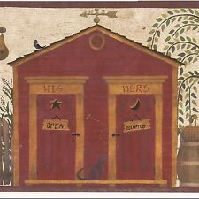 Country Folk Art Outhouse His & Hers Brown Edge - Only $9 Wallpaper Border A452