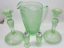 TIARA SANDWICH GLASS Lot Chantilly Green N.O.S. Original Boxes Scrolls Pressed