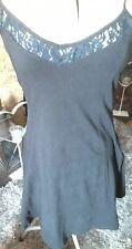 Ladies Black Skater Dress Lace Detail Sz 8 Stretchy