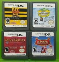 Nintendo DS Lite 2ds 3ds Game Lot Disney Puss Boots Bee Movie Rudolph Sesame St.