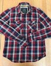 SUPERDRY Denim Goods Rivet Strength Red White Blue Check Cotton Shirt -UK Size L