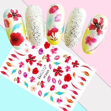Nail Art Stickers Transfers 3D Self Adhesive Red Pink Flowers (XF3009)