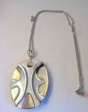 """Multi Color Shell Pendant in Silvertone w/Stainless Steel 24"""" Chain NWT"""