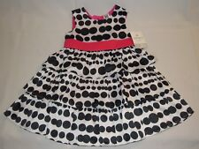 Carters Baby Girls Layer Black & White Polka Dot Sateen Dress Size 2t