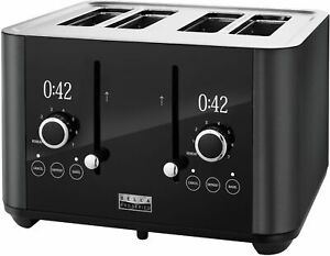 Bella Pro Series - 4-Slice Digital Touchscreen Toaster - Black Stainless Steel