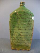Uralte Schnapsflasche, Keramik, glasiert, beschriftet, wohl Ungarn, 19. Jhd., #1