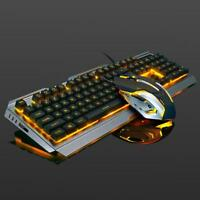 Backlit Mechanical Keyboard Wired USB Illuminated Ergonomic PC Gaming +Mouse New
