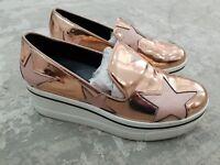 Stella McCartney Metallic Copper Rose Gold Star Platform Binx Sneaker Slip On 36