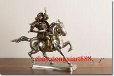 37 CM Chinese Art Deco Pure Brass SIlver samurai Kusunoki Masashige sculpture