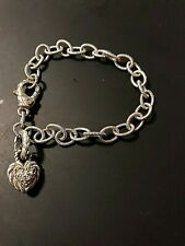 Judith Ripka CZ Heart Charm Cable Country Link Sterling Silver 925 Bracelet