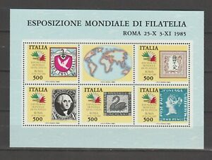 s37297 ITALIA MNH** 1985 Continenti Stamps on Stamps BF S/S