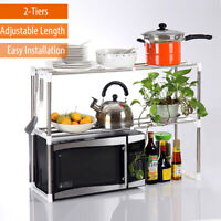 2 Layers Microwave Oven Rack Kitchen Storage Shelf Container Stainless Steel