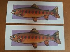 Larkspur Graphic  2 CALIFORNIA GOLDEN TROUT FISH Andie Thrams LITHO GREAT Art