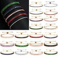 Fashion Luxury Women Zircon CZ Crystal Cuff Bangle Chain Bracelet Jewelry Gift