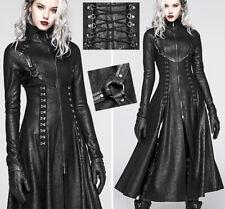 Long Leather Slit Coat Gothic Cyber Punk Matrix Hooks Corset Studded PunkRave S