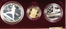 1992-W & S Gold $5 Silver $1 50 Cents Olympic Commem 3 Coin Proof Set in OGP