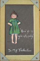 Curtis/Artist-Signed 1902 Raphael Tuck Valentine Postcard - Girl & Blackbboard
