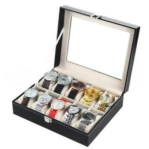 10 Slot Barrier Grids Watch Box Leather Display Case Organizer Jewelry Storage