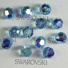 6 pcs Swarovski Element Model 5000 10mm Crystal Round Ball Beads Aquamarine AB