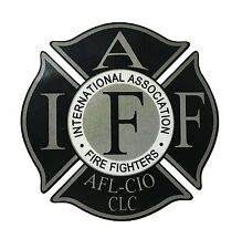 "The 4"" IAFF Union Reflective SWAT BLACK Vinyl Firefighter Us Made Window Decal"