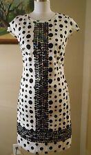 ALMATRICHI Madrid Spain White Sequin Polka Dot Shift Dress Size 36 Small S