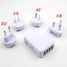 4Port USB Home Travel Wall Charger US UK EU AU Plugs AC 2.1A Power Adapter White