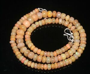 Beautiful Natural Ethiopian opal smooth Rondell beads Handmade Necklace OCB 420