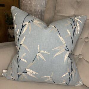 "Designer Cushion Cover 18"" iLiv Interior Fabric Embroidered Blue Decor"