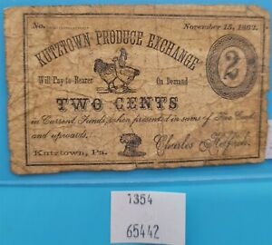 WPCoins ~ 2 Cent Kutztown, PA Produce Exchange Note Nov. 15, 1862