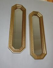 Home Interiors  2pc Set '' Octagon Gold Resin Mirrors '' Hang H or V 18'' x 5''
