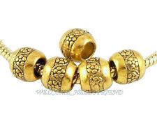 50 Lots Antique Gold Plated Flower Beads Fit European Charm Bracelet J003
