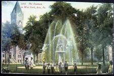 ERIE PA ~ 1900's THE FOUNTAIN IN WEST PARK ~Boys & Girls Posing for Photographer