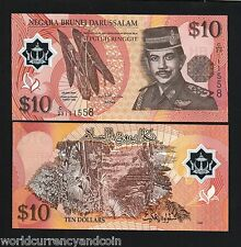 BRUNEI 10 RINGGIT P24 2008 SINGAPORE FOREST POLYMER UNC CURRENCY MONEY BANK NOTE
