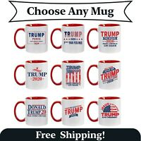 Funny Donald Trump Red Handle Ceramic Coffee Mug MAGA Re-Elect Trump Pence Gift