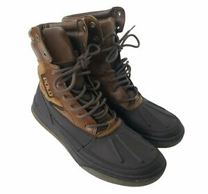 Polo Ralph Lauren Lansing Boots Oiled Suede Hiking Brown Lace Up Mens 9.5D