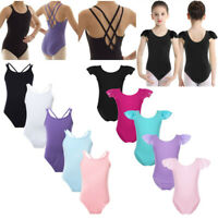 Girls Ballet Dance Basic Leotards Kids Gymnastics Sleeveless Jumpsuits Dancewear