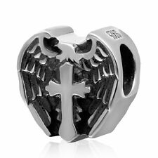 Cross Angel Wings 925 Sterling Silver CZ Charm Bead Fits European Bracelet S3564