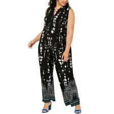 INC Womens Wide Leg Sleeveless Printed Jumpsuit Plus BHFO 4430