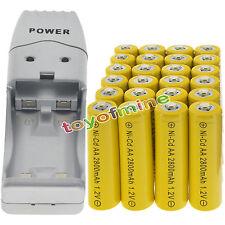 24 batterie AA ricaricabili NiCd 2800mAh 1.2V Solar Light + Charger
